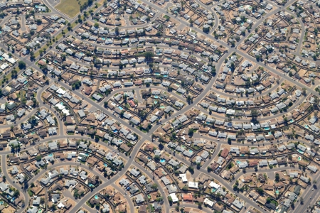 Aerial View of a Southwestern Neighborhood in Scottsdale, Arizona USA