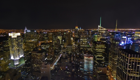 New York City Skyline Aerial at Night