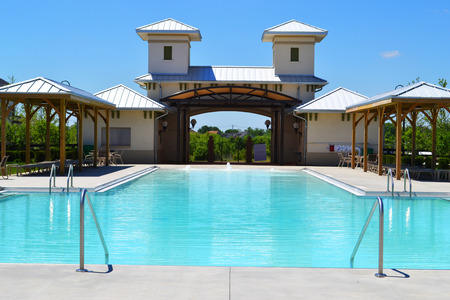 gated: Community Pool in a Brand New Suburban Neighborhood
