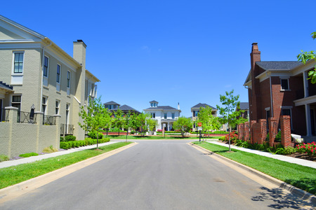 cape cod style: Beautiful, New Suburban Neighborhood in the Summertime