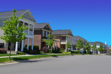 suburban: Beautiful, New Suburban Neighborhood in the Summertime