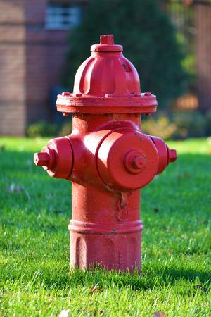 borne fontaine: Bouche d'incendie rouge Banque d'images
