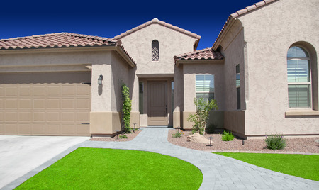 home garden: Brand New Luxury Southwestern Style Ranch Home in Scottsdale, Arizona Stock Photo