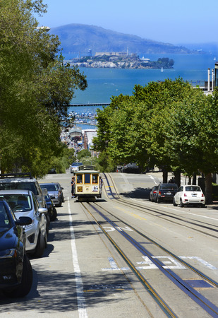 Trolley street car on Hyde Street - San Francisco, CA USA