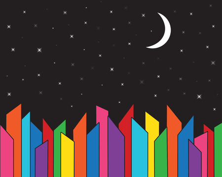 Colorful, abstract city skyline with a starry night sky