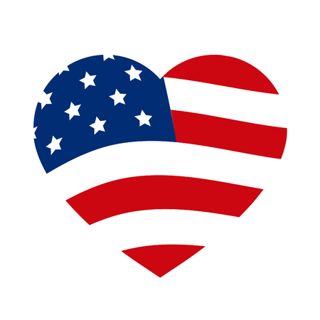Abstract Flag of United States of America, Heart