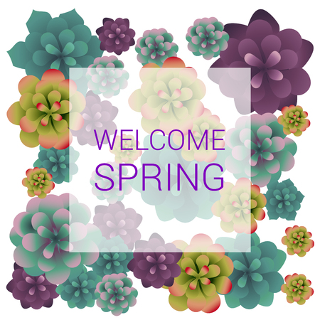 Welcome Spring Text, Succulents Plants, Vector Illustration, Background