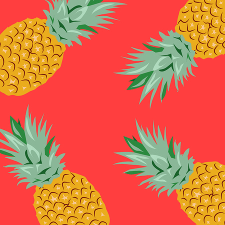 Pineapples, Vector Illustration, Red background Stock Illustratie