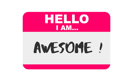 Hello, I am... Awesome, Sticker Vector 向量圖像