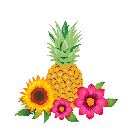 Pineapple and Flowers, Vector Illustration