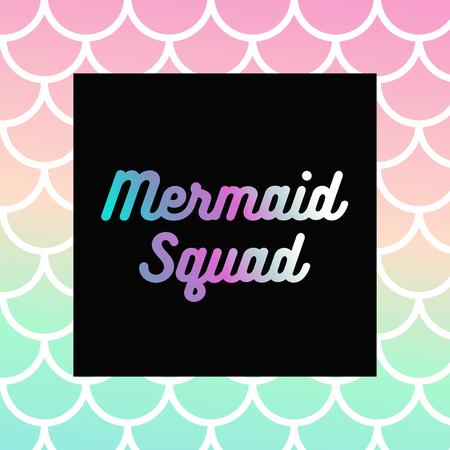 Mermaid Squad Text, Abstract Mermaid Texture 向量圖像