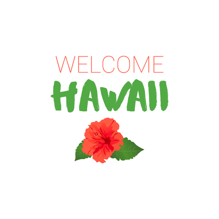 Welcome Hawaii and Red Hibiscus, Banner