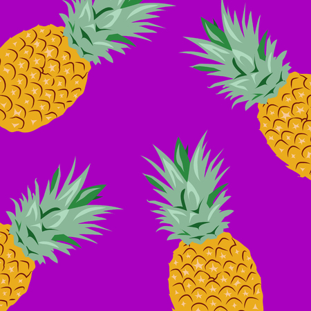 Pineapples, Purple Background