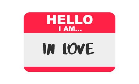 Hello, I am... In Love, Sticker Vector