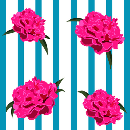 Peonies Flowers, Striped background
