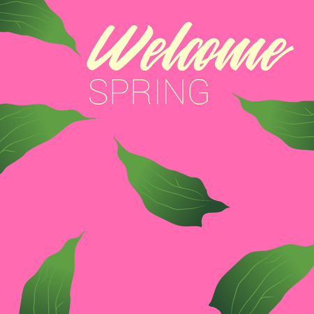 Welcome Spring, Green Leaves and Pink Background, Banner 版權商用圖片 - 117688316