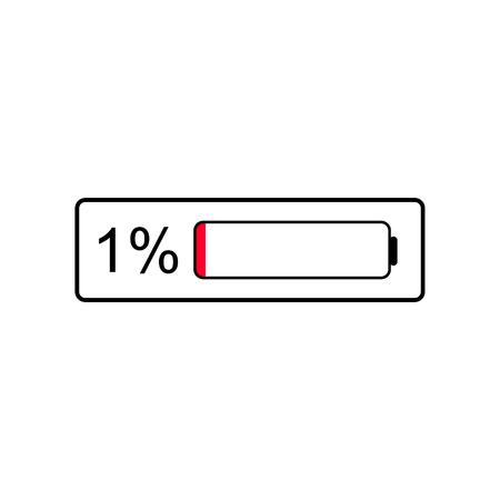 Batteriestandsanzeigesymbol, 1 % Prozent der Batterie, Aufladen erforderlich Vektorgrafik