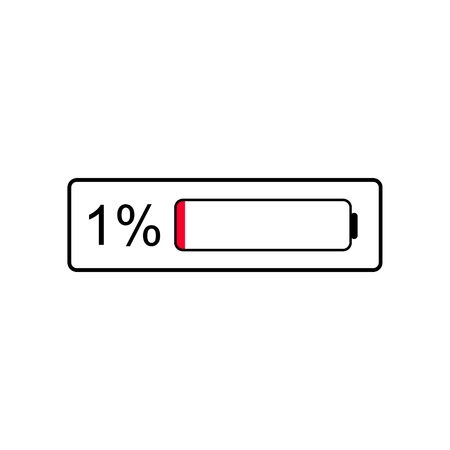Battery level Indicator icon, 1 % percent of battery, In need of charging