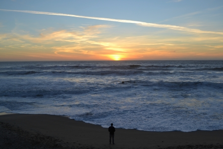 Beach in Half Moon Bay, CA Stock Photo
