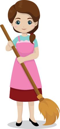 aseo: muchacha que sostiene una escoba para la limpieza