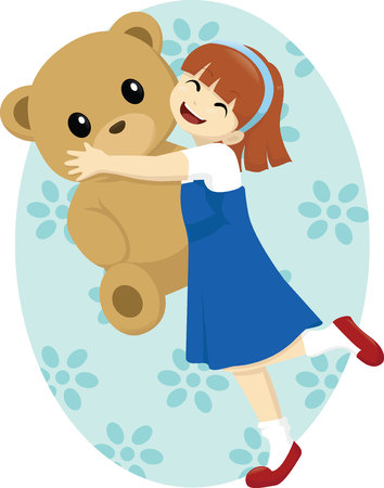 girl happily hugging big teddy bear Ilustrace