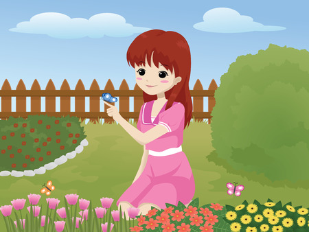 little girl in the garden playing with butterfly Ilustrace