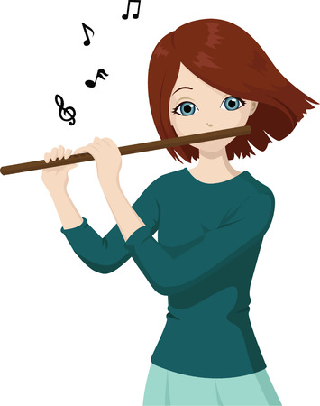 talented: girl playing flute
