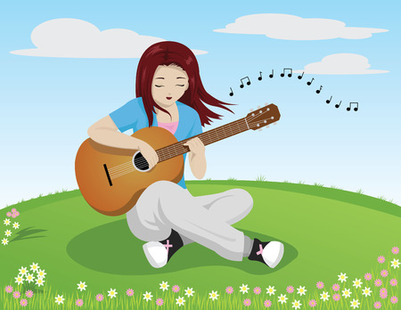 talented: girl playing guitar and singing while sitting