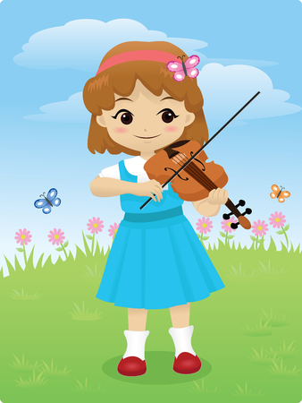 little girl playing violin outdoor with flowers and butterflies in background