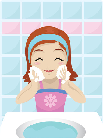 face wash: little girl washing her face with soap Illustration