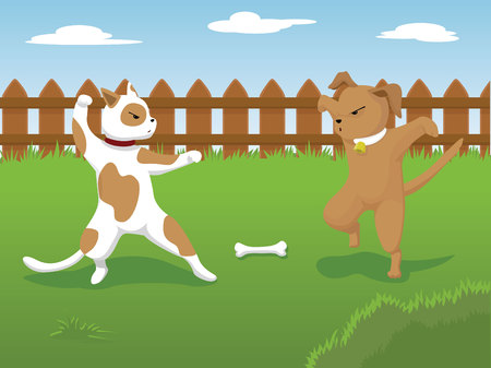 dogs fighting over a bone doing a karate pose Ilustrace