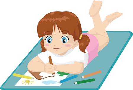 girl lying down: little girl drawing while lying down Vectores
