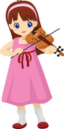little girl playing violin Ilustrace