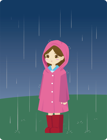 little girl wearing a raincoat standing in the rain