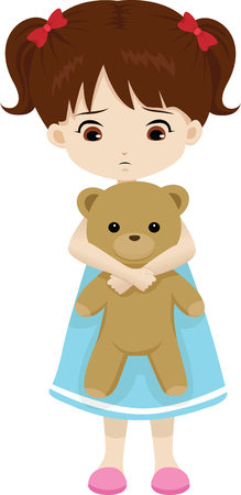 sad little girl holding a teddy bear Ilustrace
