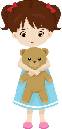 sad lonely girl: sad little girl holding a teddy bear Illustration