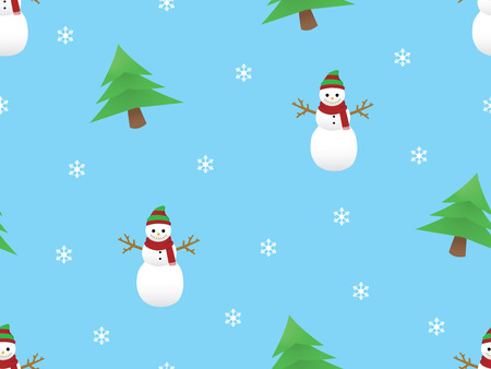 Christmas themed seamless pattern with snowman and pine trees Ilustrace