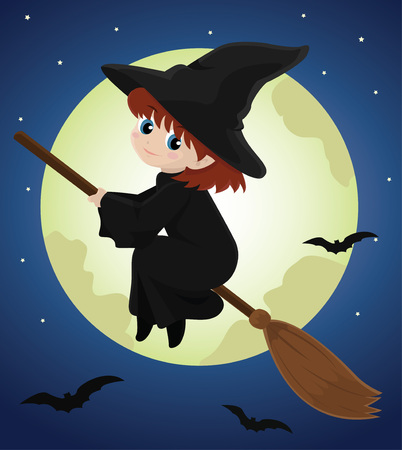 broomstick: witch girl flying on a broomstick