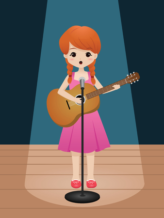 girl singing while playing guitar on the stage Ilustrace