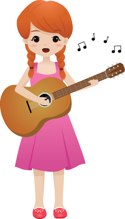 girl singing: girl singing and playing guitar Illustration