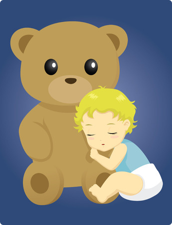 cute little baby sleeping beside a big teddy bear