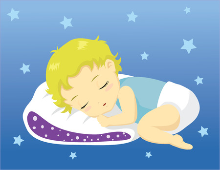 Cute baby sleeping on pillow