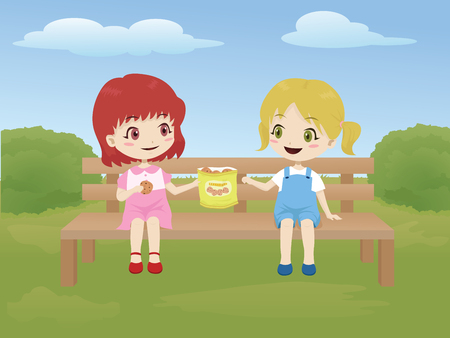 Kids sharing food while sitting on a bench in the park Ilustração
