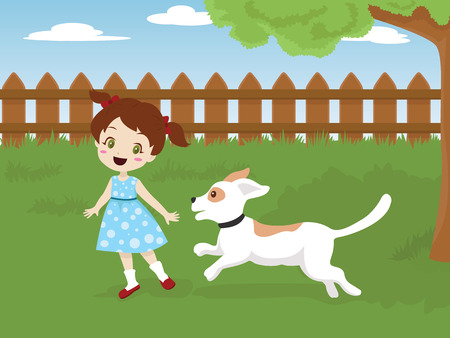 Child playing with her dog in the backyard