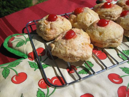 Cherry & lemon scones close up Stock Photo