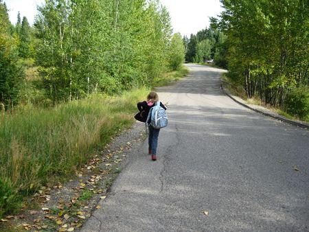 Homeward bound on country road 版權商用圖片