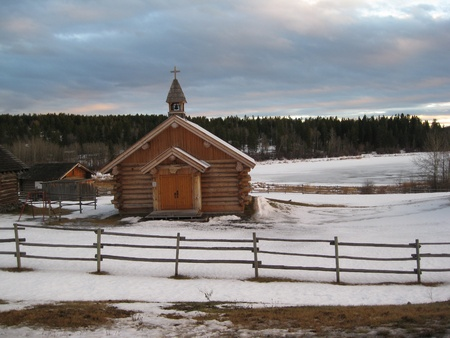 Log Church by the lake Stock Photo - 11937138