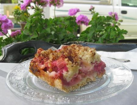 Close up of Rhubarb dessert photo