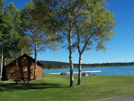 Cabin by the lake in the Autumn  photo