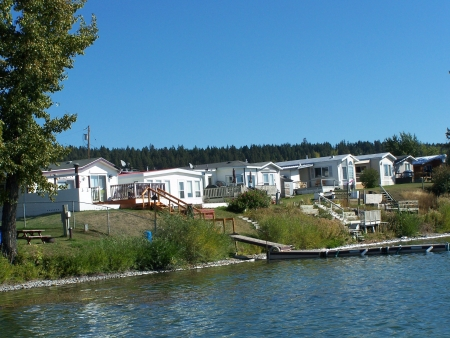 White row of homes on the lakeshore  photo